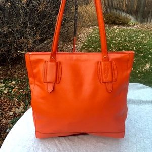 Lauren by Ralph Lauren Orange Leather Tote